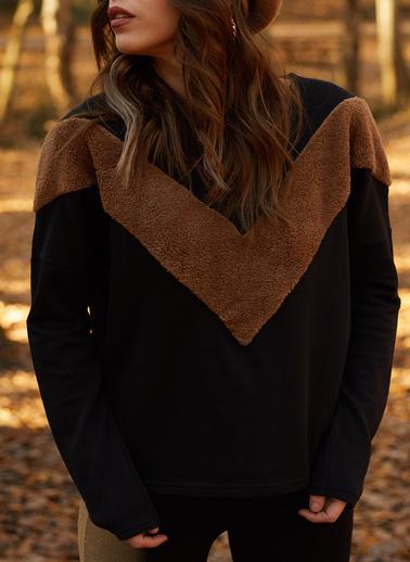 XHAN Suni Kürk Bloklu Sweatshirt  9Kxk8-41669-02 Siyah